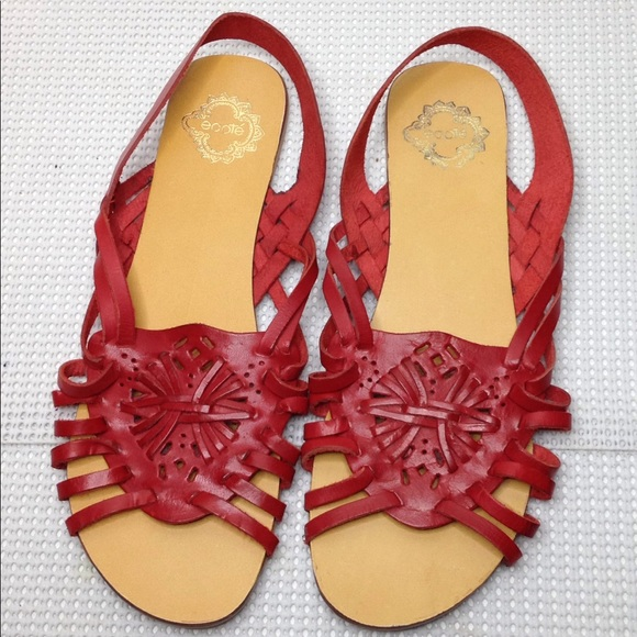 2300d6a1dfacd Ecote Shoes - Ecote Red Leather Flat sling back woven sandals 9